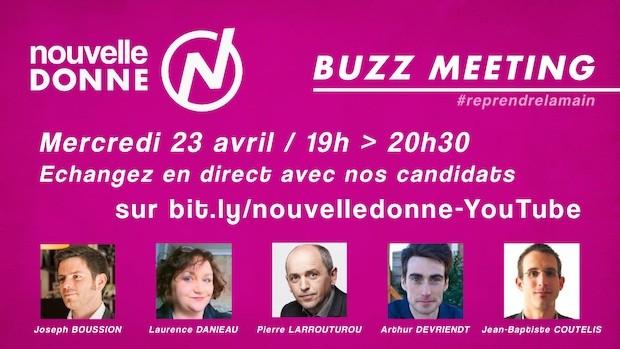 Buzz meeting ce soir à 18h ! Suivez-nous sur Twitter