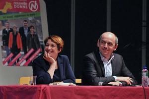 Isabelle Attard et Pierre Larrouturou, au meeting de soutien des candidats de Nouvelle Donne aux élections départementales dans le canton Aubière-Romagnat-Pérignat
