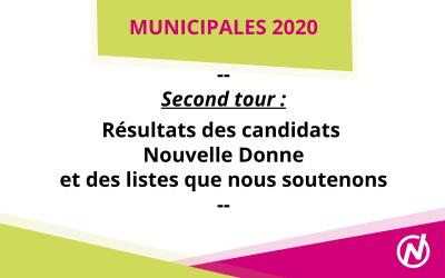 [Municipales 2020] Résultats des candidats Nouvelle DONNE et des listes soutenues