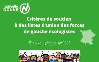 Critères de soutien à des listes d'union des forces écologistes